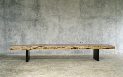 17 LONG LOW CONSOLE / BENCH IN LITCHIE WOOD AND BLACK IRON LEGS