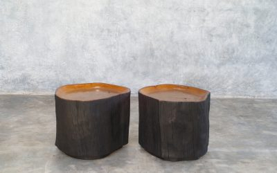 29 TEAK TRUNK SIDE TABLES