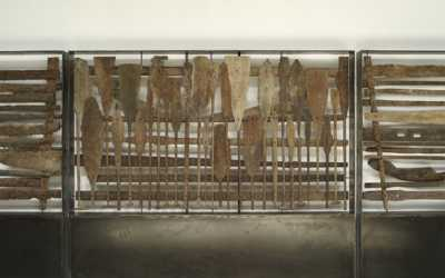 wall sculpture made from old artefacts pieces found in the rivers of Kalimantan
