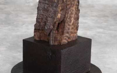 pair of eroded iron wood post from Kalimantan on iron base