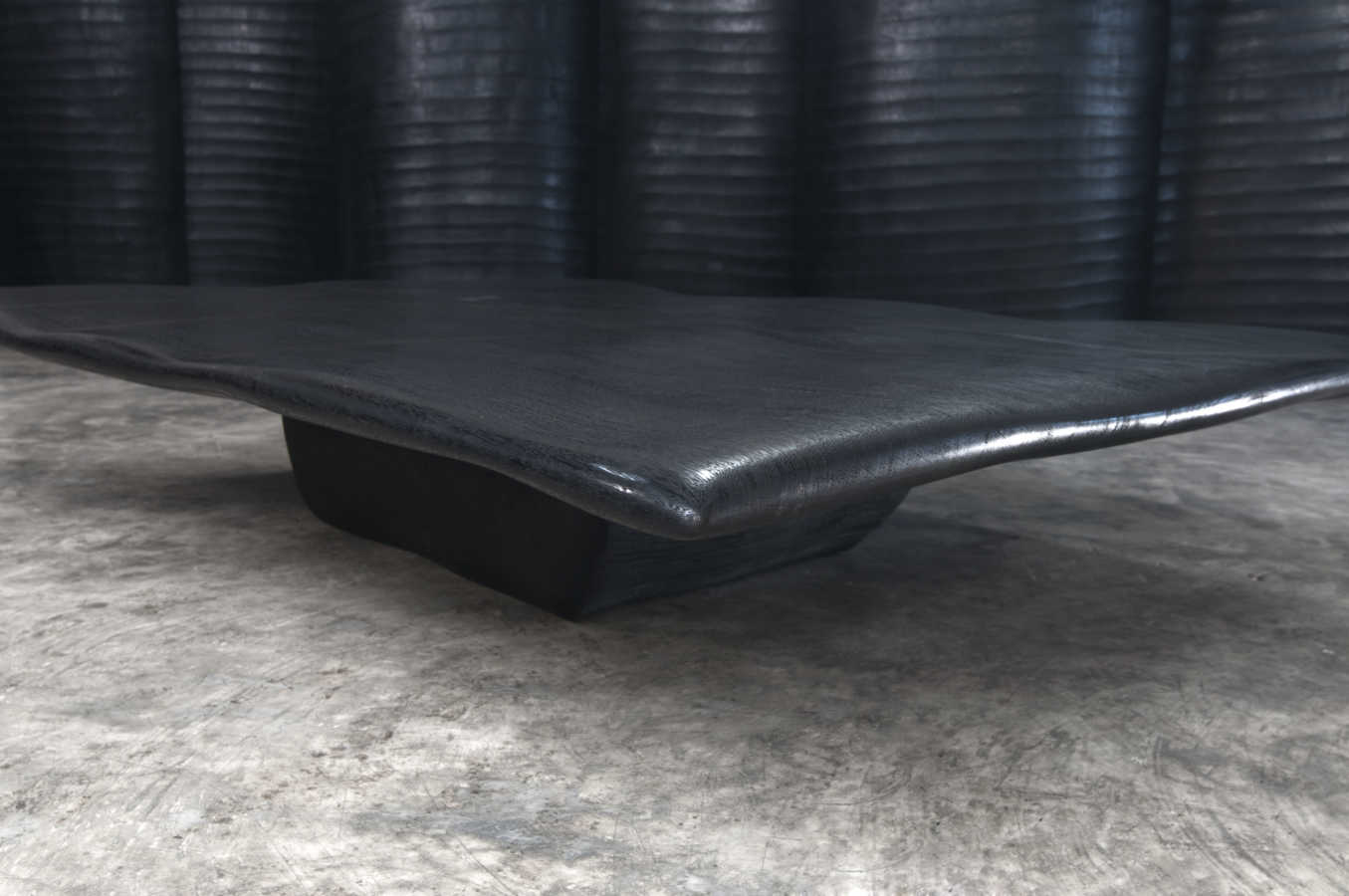 BLACKENED MERBEAU WOOD WAVE COFFEE TABLE 2 - 195X145X35cm 77x57x14'