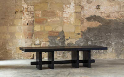 DINING TABLE CONFERENCE SOLID BLACKENED MERBAU WOOD